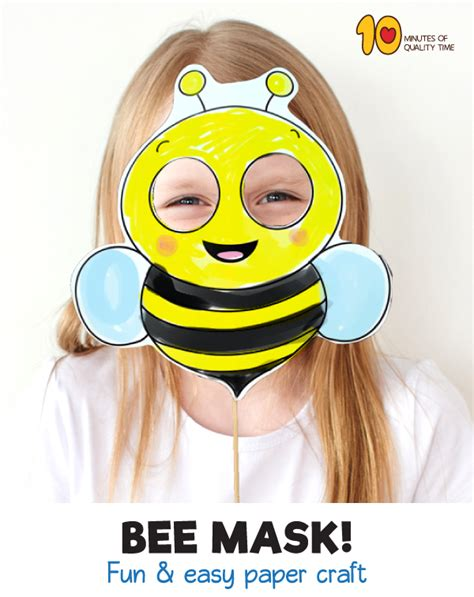 bee printable paper mask  minutes  quality time