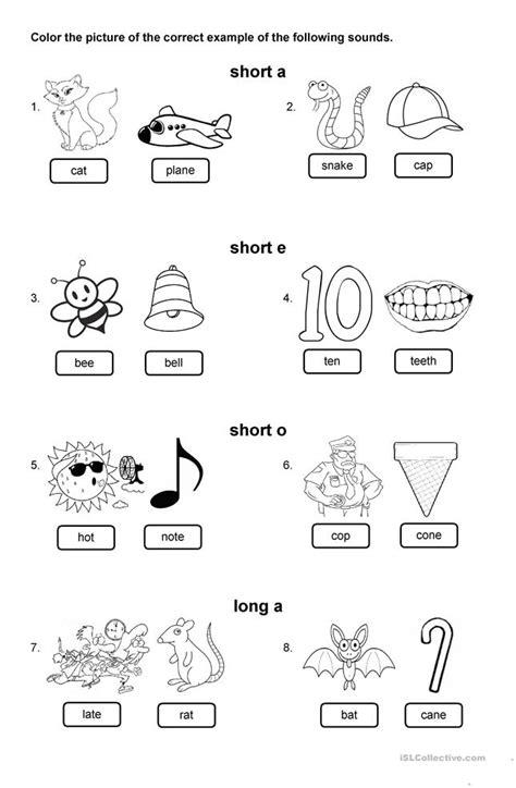short vowel sounds worksheet  esl printable