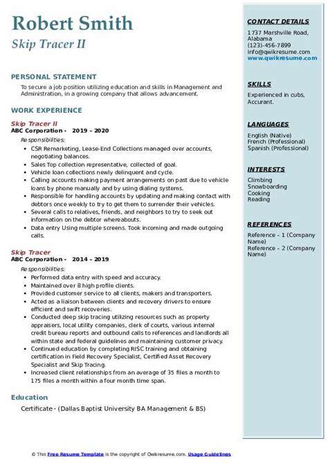 skip tracer resume samples qwikresume