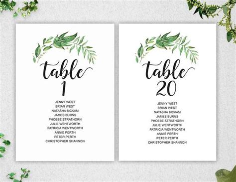 bridal shower seating chart template greenery table seating chart template 1 20 instant editable 5x7 printable