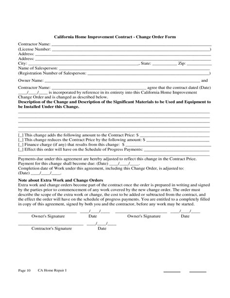 home improvement contract sample