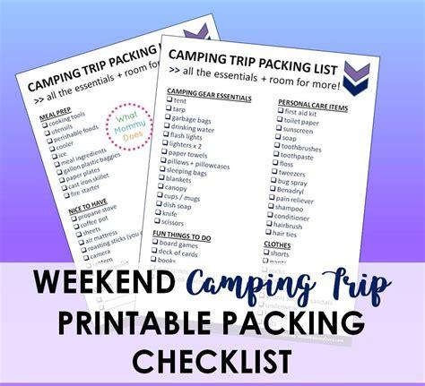 printable camping trip checklist essentials  pack