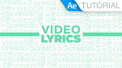 Video Lyrics  Tutorial After Effects Youtube
