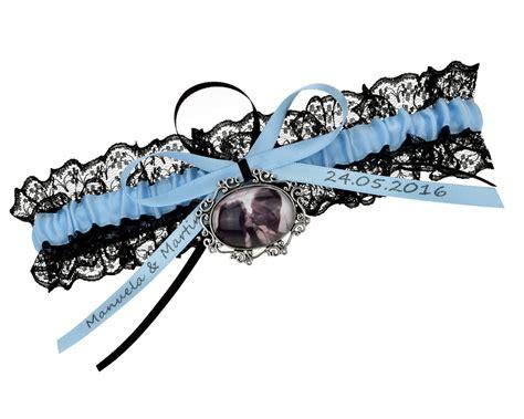 individuelles strumpfband mit foto  blau schwarz