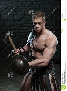 Gladiator With Shield And Axe Stock Photo - Image: 42959285