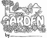 Garden Coloring Pages Cartoon Gardening Name Night Colouring Gardens Flowers Clip Field Print Fairy Sheets Tool sketch template