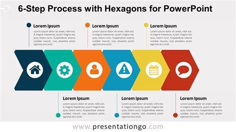 step process  hexagons  powerpoint