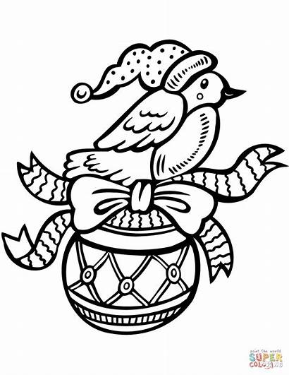 Coloring Christmas Bird Ornament Pages Printable Holiday