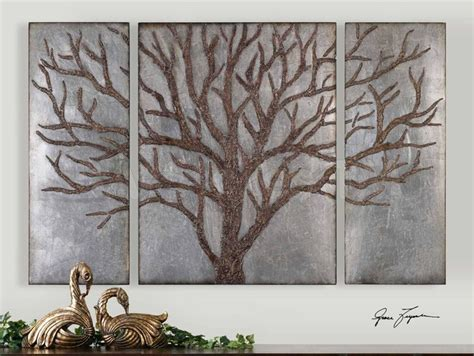 winter view rustic tree wall art set of 3 rustic
