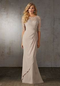 chiffon mother of the bride gown with lace and beading on With wedding dresses for mother of the bride