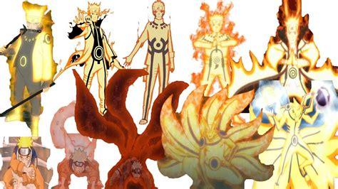 naruto all forms of nine tails chakra mode naruto all