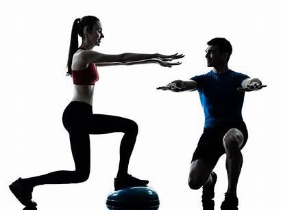 Fitness Exercising Coach Woman Bosu Training Squats