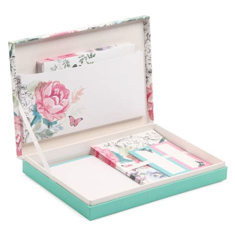 vintage floral box writing set  stationery
