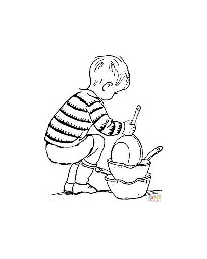 Dishes Coloring Pages Child Clipart Organizing Colouring