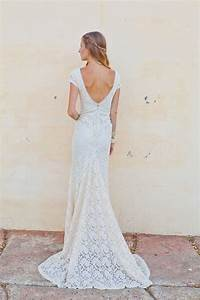 stretch lace bohemian wedding dress lace gown with train With stretch lace wedding dress