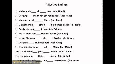 practice  adjective endings  german www