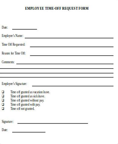 16839 time request forms paid time request form sle experience employee for