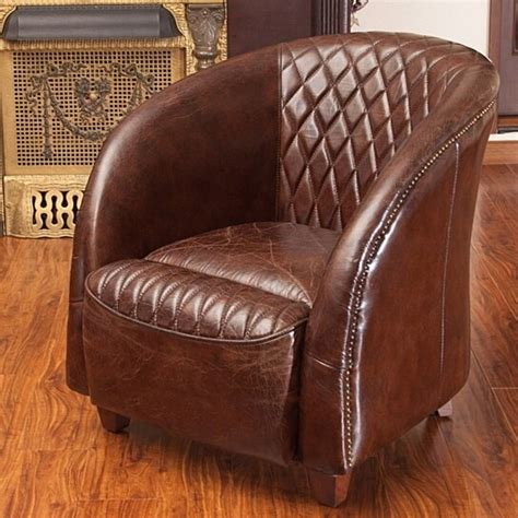 buy michele quilted brown top grain leather club chair
