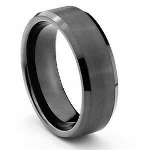 8mm tungsten mens brushed polished black wedding band With mens brushed wedding rings