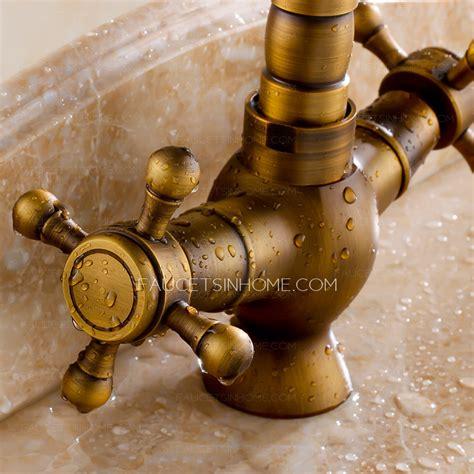 antique brass kitchen faucet vintage antique brass 2 handle kitchen faucets brushed