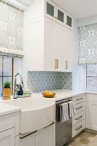 blue kitchen backsplash tiles with white cabinets With kitchen cabinet trends 2018 combined with stainless steel fish wall art