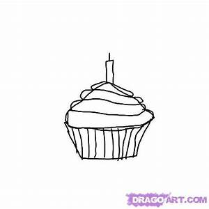 How To Draw A Birthday Cupcake, Step by Step, Food, Pop ...