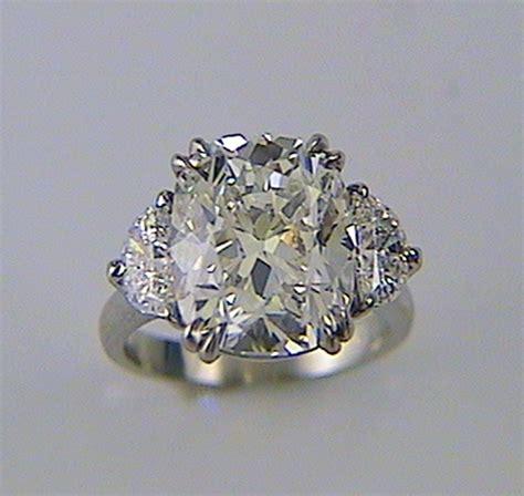 cushion cut engagement ring with half moon sides k w jewelry kestenbaum weisner