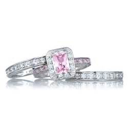 pink engagement ring pink wedding ring set