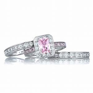 Pink diamond black wedding ring fake pink diamond wedding for Wedding rings with pink