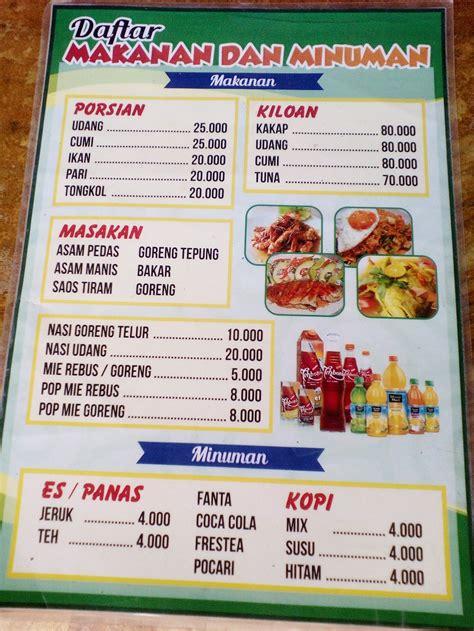 daftar menu makan  minuman
