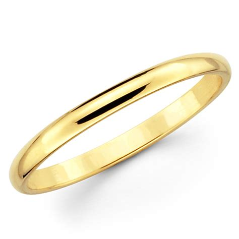 10k Solid Yellow Gold 2mm Plain Men's And Women's Wedding