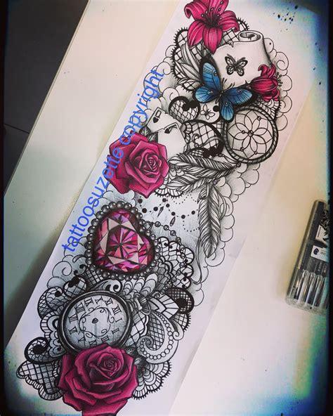 tatouage bras femme dentelle roses by tattoosuzette on deviantart