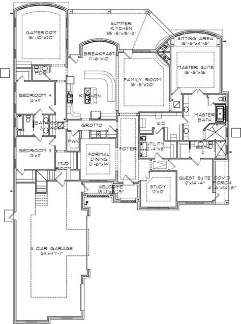 House Plan 9036 00053   Ranch Plan: 3,725 Square Feet, 4