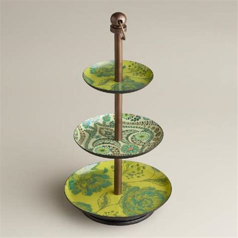 Green Floral Enamel Threetiered Jewelry Stand  World Market