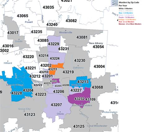Zip Code  All Columbus, Ohio Data