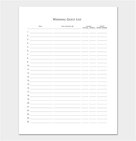 guest list template   word excel  format