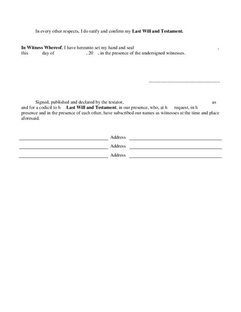 free codicil template sle codicil to last will and testament free