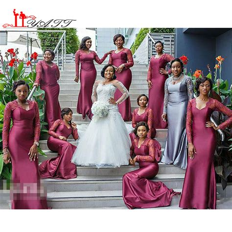 Black Girl Wedding Dress Meme - aliexpress com buy long sleeves lace african black girls long bridesmaids dresses 2016 hot