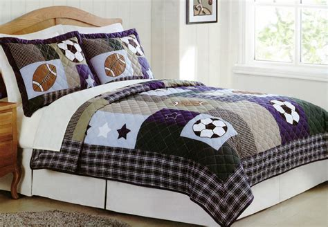 sports bedding collage quilt set with shams