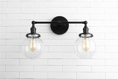 Black Bathroom Light Fixtures by Clear Globe Light Globe Vanity Light Black Light