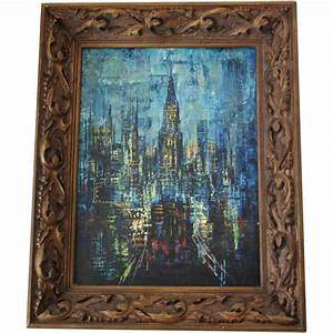 Abstract New York City Trinity Church Oil Painting Mid