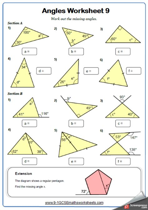 angles in triangles maths worksheet and answers 9 1 gcse