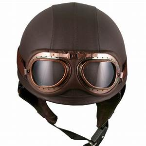 Leather Brown Motorcycle Goggles Vintage Helmets Biker ...