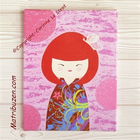 tableau deco chambre fille tableau enfant bébé kokeshi poupée japonaise illustration