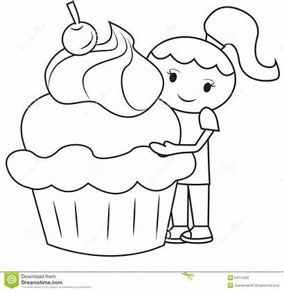Cupcake Coloring Meisje Kleurende Grote Pagina Het