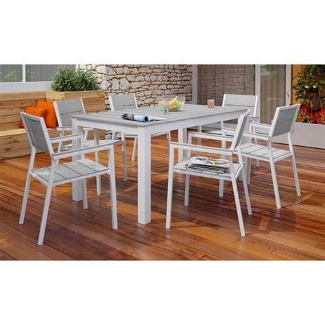 modway maine 7 outdoor dining set in white and light