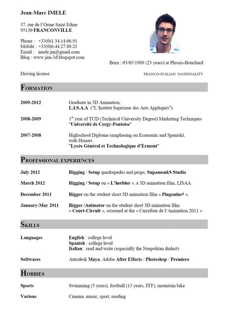 What To Put On A Cv For A by Sle To Write Curriculum Vitae For 3d Animation Design With List Of Languages And Software