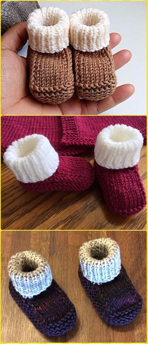knit ankle high baby booties  patterns instructions