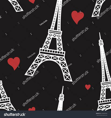 vector seamless pattern hearts background eifel stock