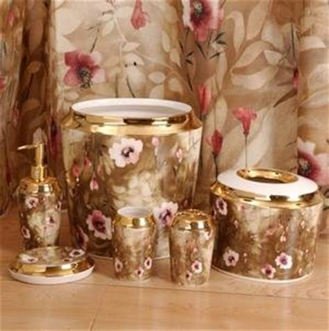 katchia gold brown rose pink floral complete 7pc bathroom